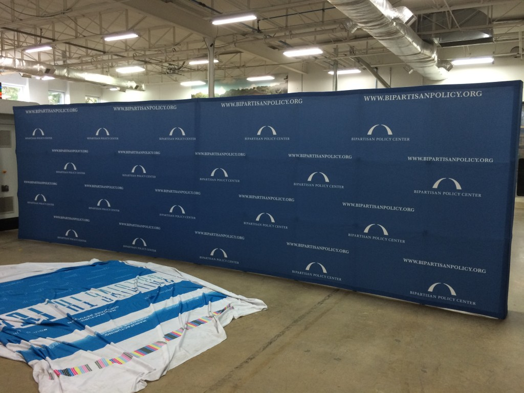 24' long fabric step and repeat banner popup back wall for the Bipartisan Policy Center