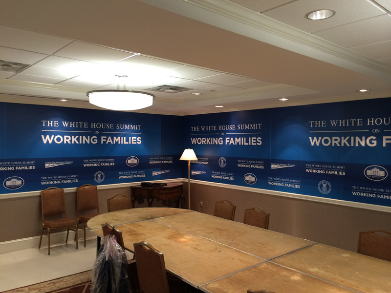 Political event graphics gatorboard panels produced and installed by CSI for the White House Summit On Working Families
