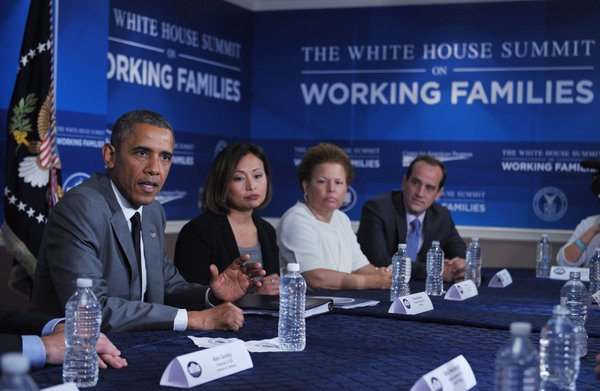 Political event graphics produced and installed by CSI for the White House Summit On Working Families