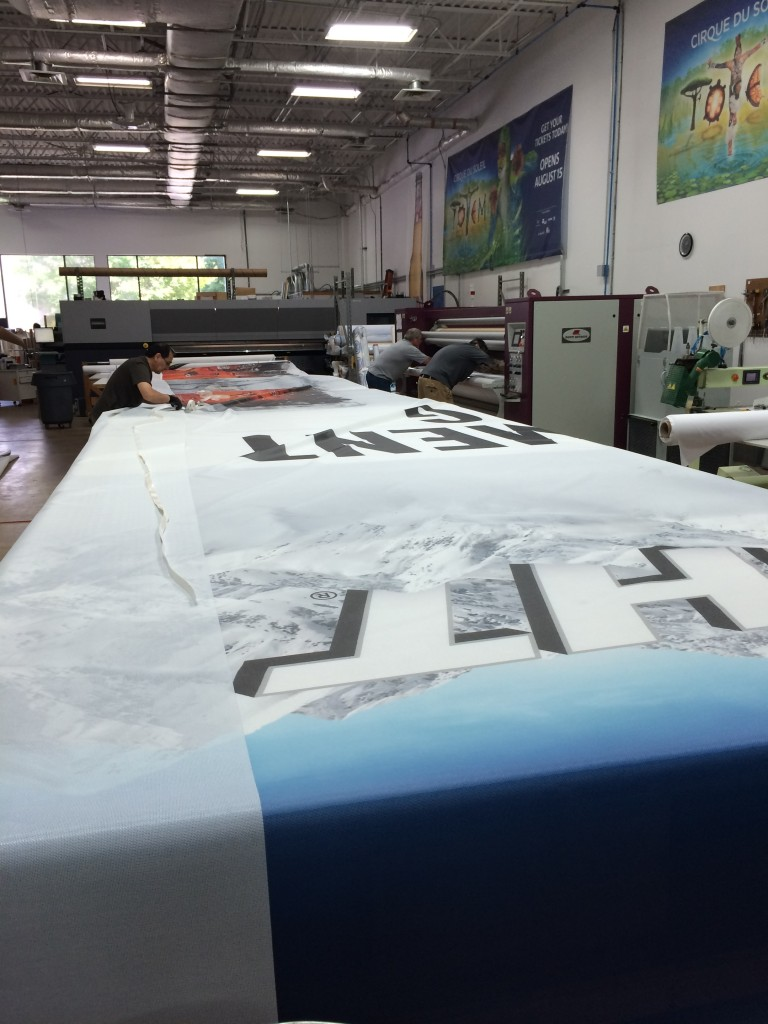 large outdoor mesh banners for Coors Light in CSI production facility
