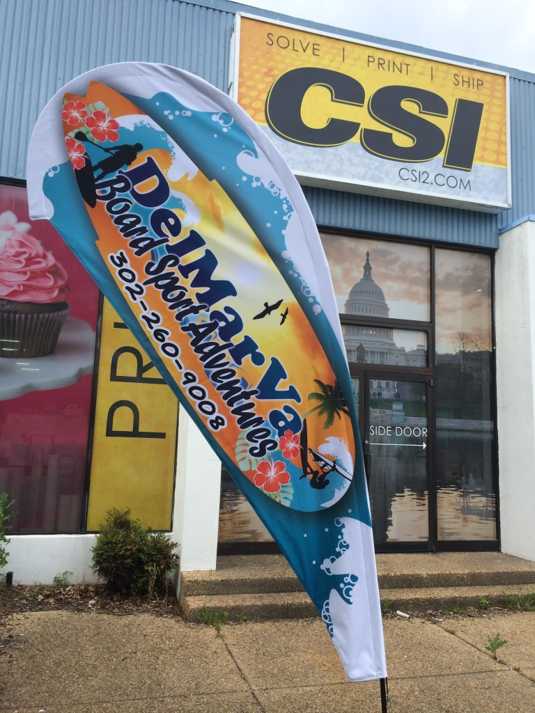 2-sided outdoor fabric flags produced for DelMarVA Board Sport Adventures