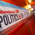 Political event signage produced and installed by CSI for National Journal. Photo by Kristoffer Tripplaar.