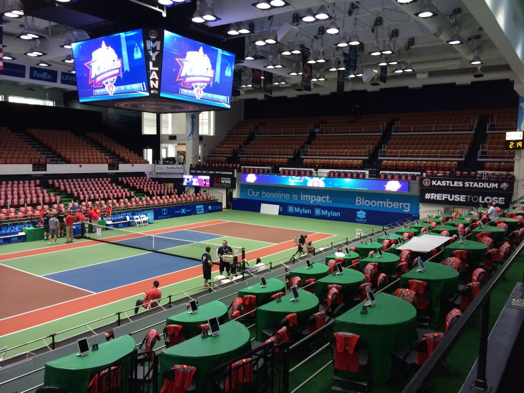 stadium signage and stadium graphics produced and installed by CSI for the Washington Kastles tennis team
