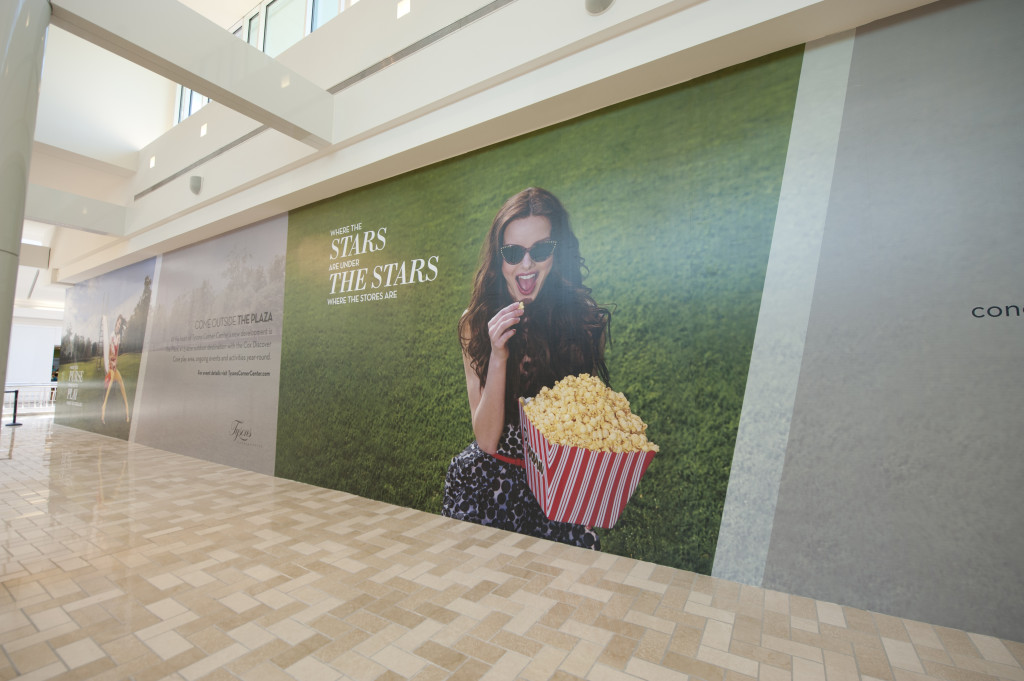 Mall graphics - adhesive vinyl wall mural produced and installed by CSI for Macerich at Tysons Corner Center - Interior Plaza Walkway