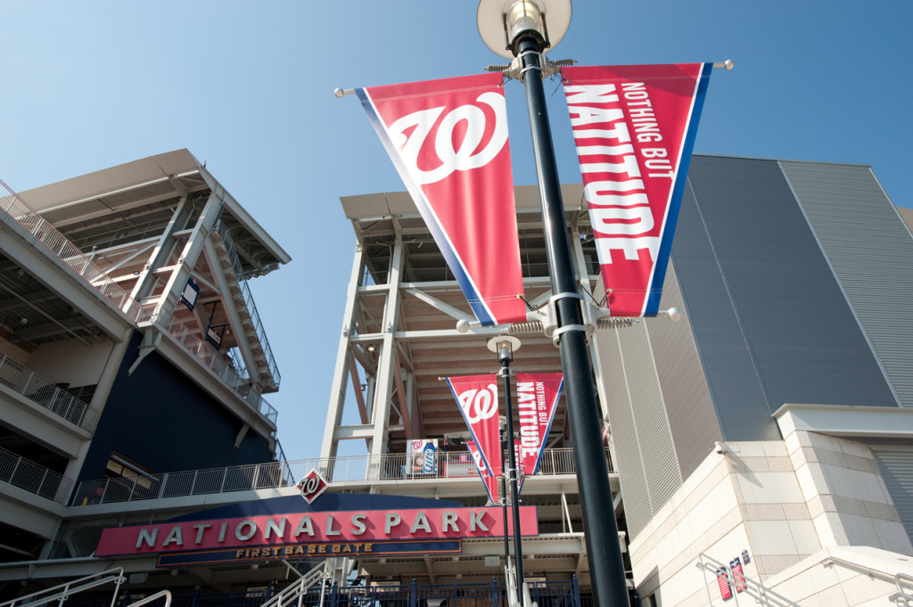 Pole banners produced and installed by CSI for the Washington Nationals at Nationals Park. Visit csi2.com for more information.