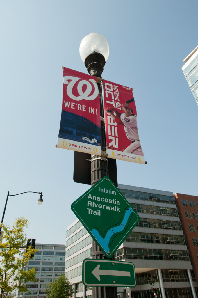 Pole banners produced by CSI for the Washington Nationals installed in the area around Nationals Park. Visit csi2.com for more information.