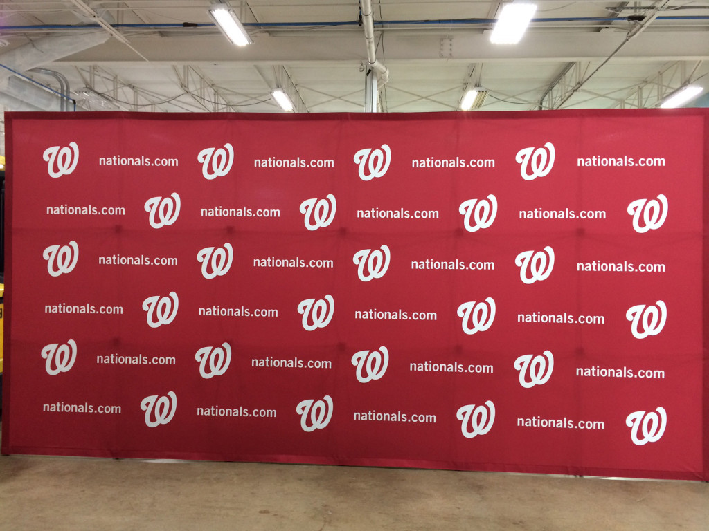Washington Nationals fabric step and repeat banner popup back wall