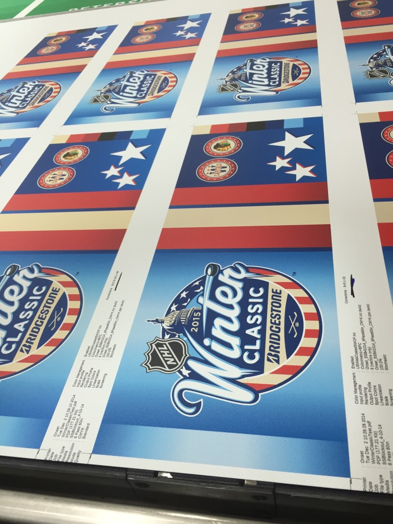 Pole banners produced by CSI for the 2015 NHL Winter Classic at Nationals Park in production at our facility. Visit csi2.com for more information.