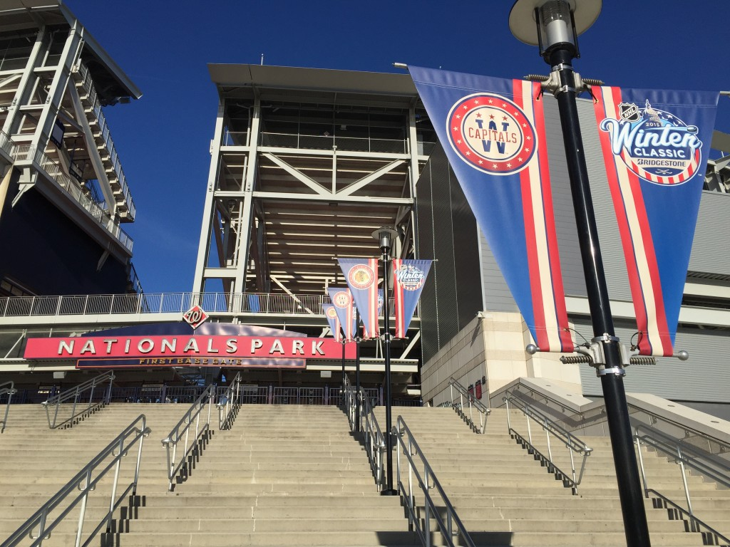 Pole banners produced by CSI for the 2015 NHL Winter Classic at Nationals Park installed at Nationals Park. Visit csi2.com for more information.