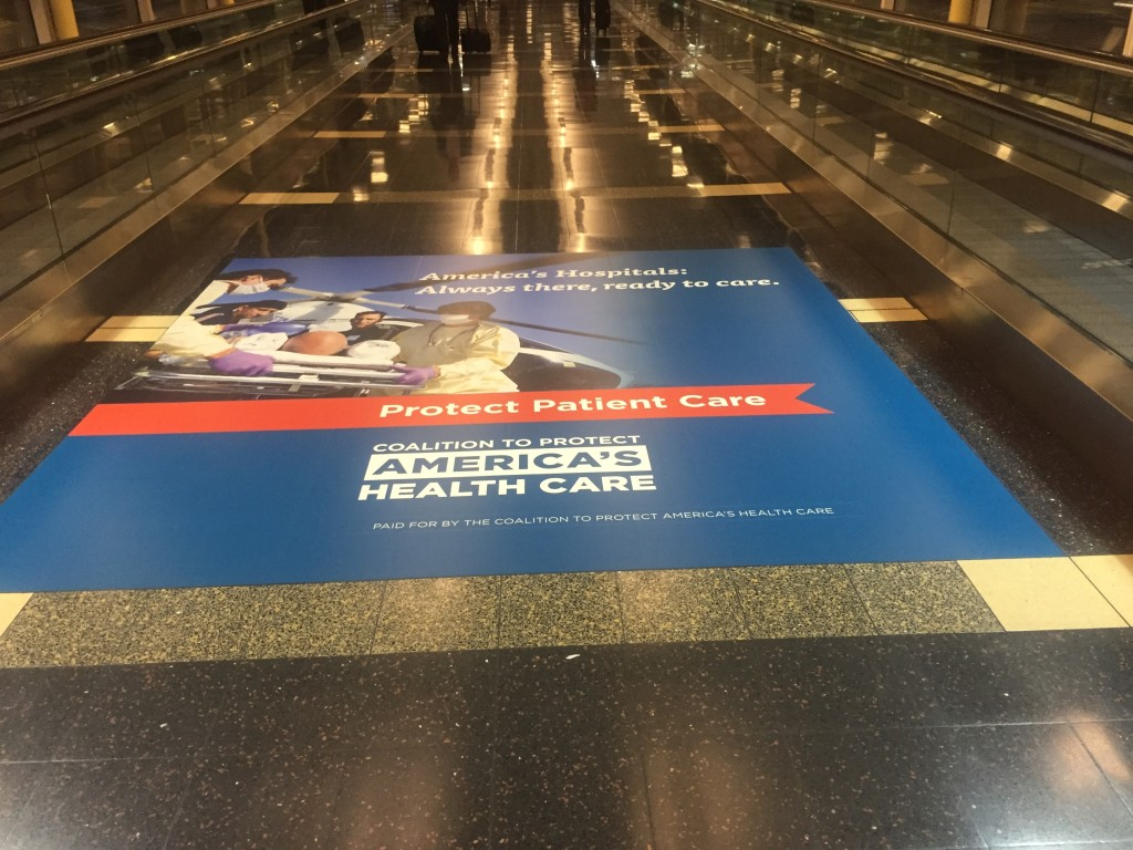 Floor Graphics for the Coalition To Protect America's Health Care produced and installed by CSI.
