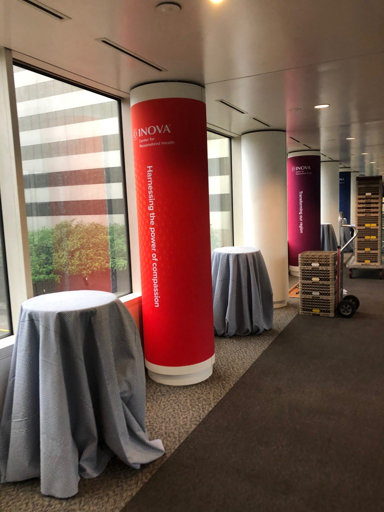 Interior Fabric Column Wraps produced and installed for the Inova Center For Personalized Health