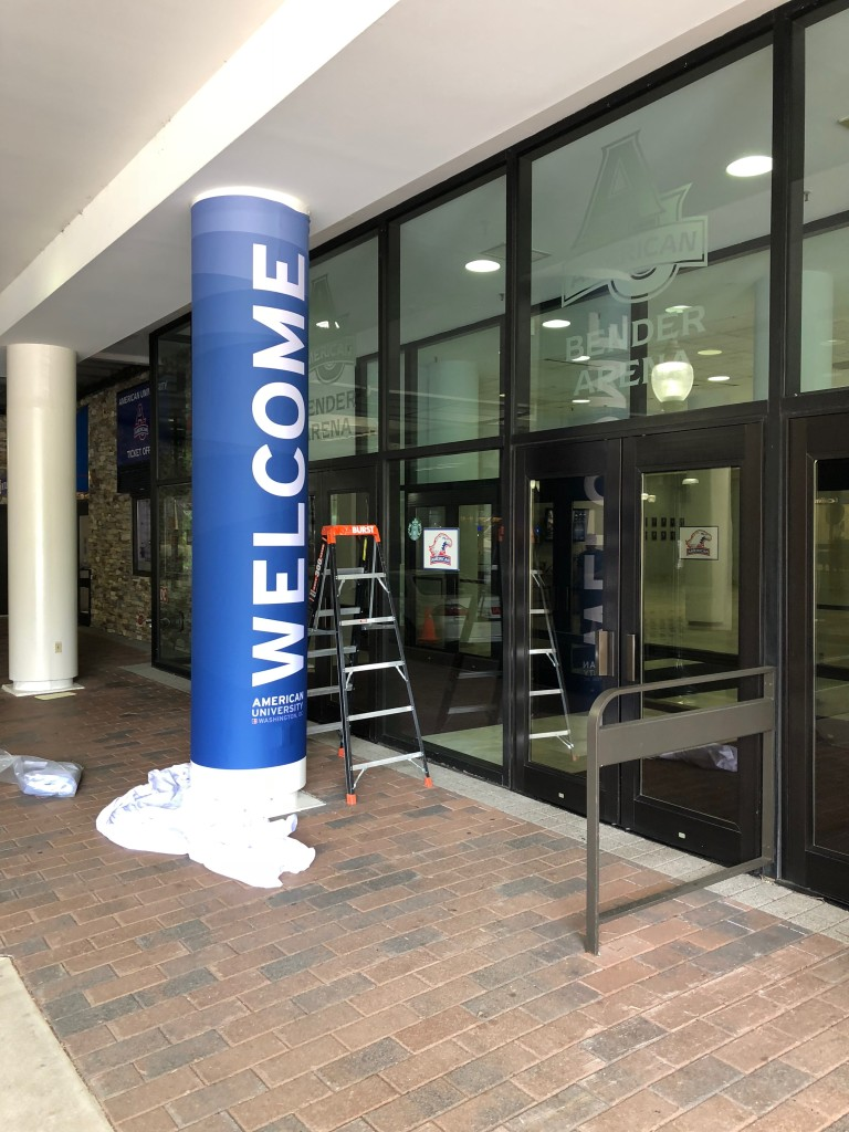 Exterior Fabric Column Wrap for American University