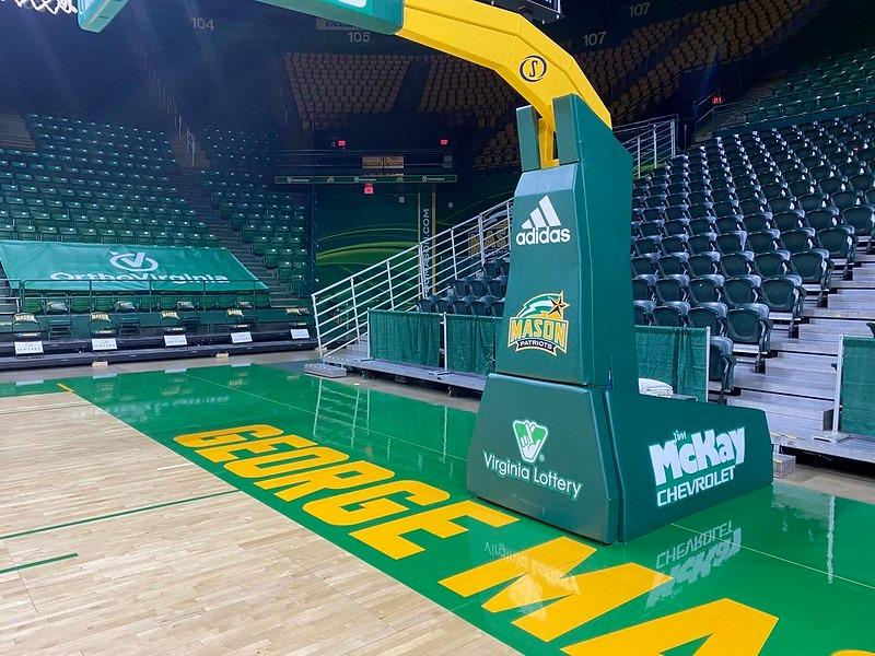 Basketball hoop graphics installed at EagleBank Arena, George Mason University, printed by CSI. CSI April 2021 Newsletter.